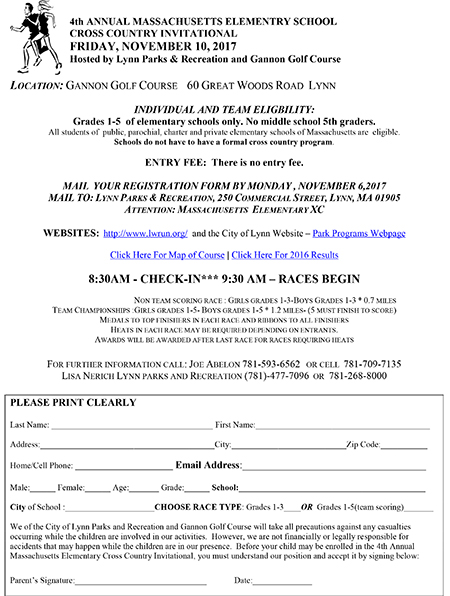 4th Annual Mass Elementry School Cross Country Race Flyer